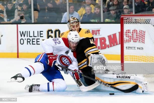 Montreal Canadiens winger Jonathan Drouin crashes into Boston Bruins goalie Tuukka Rask during a game between the Boston Bruins and the Montreal...
