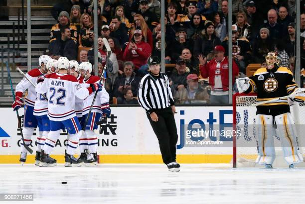 Montreal celebrates getting on the board first early during a game between the Boston Bruins and the Montreal Canadiens on January 17 at TD Garden in...