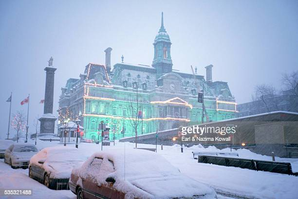 montreal city hall in winter - place jacques cartier stock pictures, royalty-free photos & images