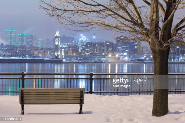 montreal city skyline lit up at night, quebec, canada - montreal photos et images de collection