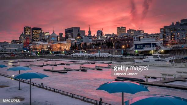 Montreal cityscape from the old port in winter during sunset