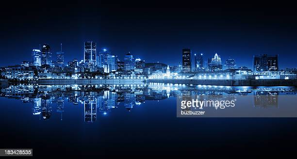 Montreal Cityscape Reflection at Night