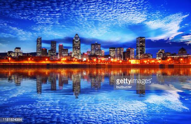 montreal cityscape reflection at sunset - buzbuzzer stock pictures, royalty-free photos & images