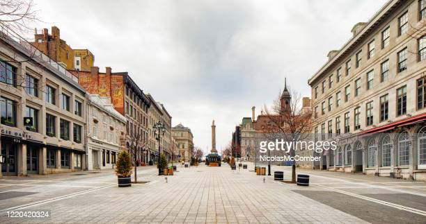 montreal deserted place jacques-cartier on a cloudy springtime day panoramic view - urban road stock pictures, royalty-free photos & images