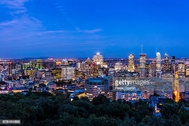 Montreal downtown cityscape at sunset