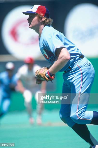 Montreal Expos' firtsbaseman Rusty Staub runs to field a ball during a game against the Philadelphia Phillies at Veterans Stadium circa the 1970's in...