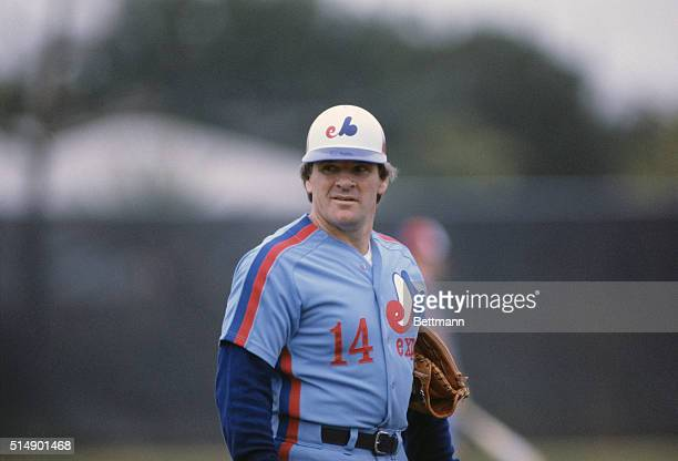Montreal Expos Pete Rose gives a reproachful look from the playing field Rose played on three championship teams during only six years of his...
