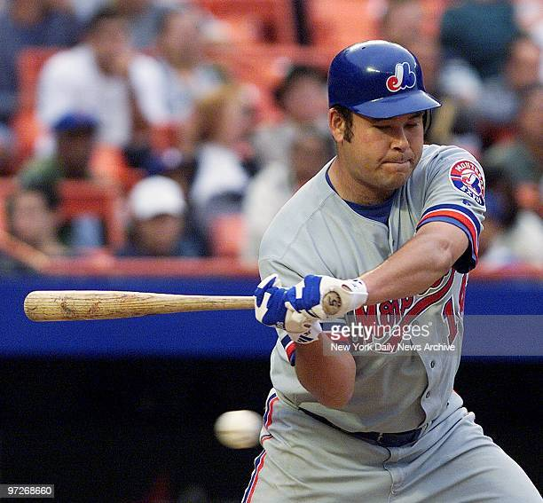 Montreal Expos' pitcher Hideki Irabu at bat against the New York Mets in game two of a doubleheader at Shea Stadium The former Yankee went six...