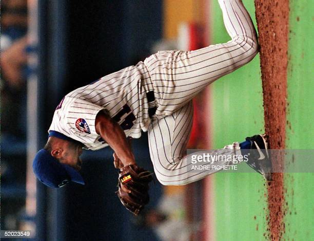 Montreal Expos pitcher Ugueth Urbina reacts after his last pitch against the Florida Marlins during the ninth inning June 21 in Montreal The Exos...