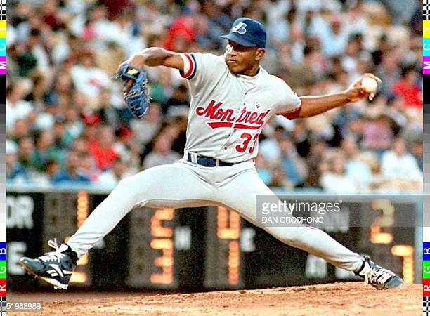 Montreal Expos rookie pitcher Carlos Perez pitches to the Los Angeles Dodgers in the second inning 06 June in Los Angeles Perez gave up three hits in...