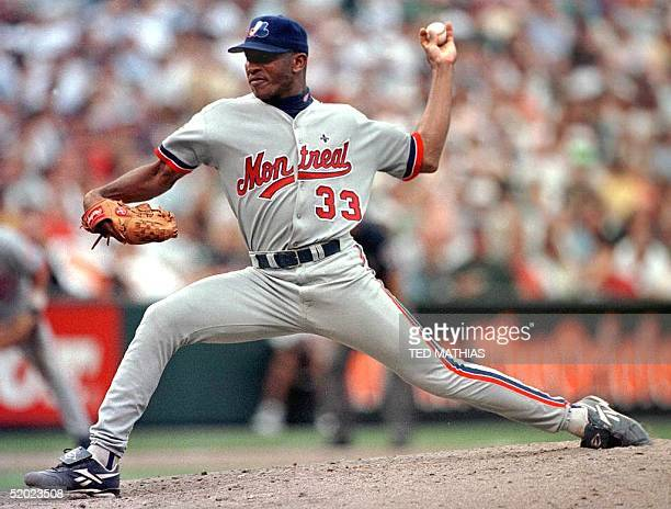 Montreal Expos starting pitcher Carlos Perez delivers to the plate in the seventh inning of Montreal's game with the Baltimore Orioles in Baltimore...