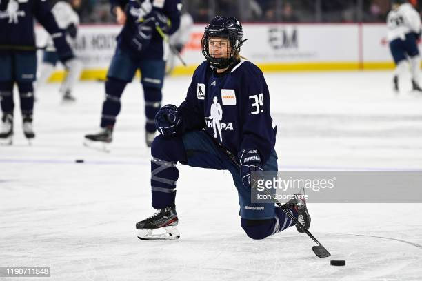 Montreal forward AnnSophie Bettez kneels on the ice during the PWHPA Pro Challenge game opposing Minnesota to Montreal on December 28 at Place Bell...