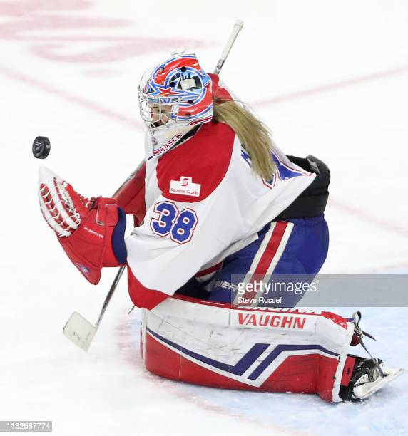 Montreal goaltender Emerance Maschmeyer makes a save as the The Canadian Women's Hockey League's Clarkson Cup final between Calgary Inferno and...