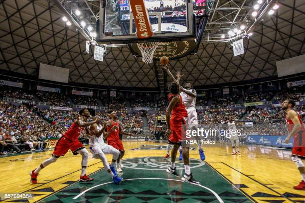 Montreal Harrell of the LA Clippers shoots the ball during the preseason game against the Toronto Raptors on October 4. 2017 at the Stan Sheriff...