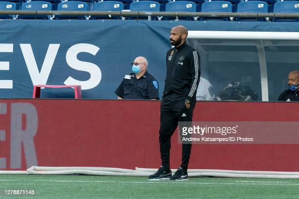 Montreal Impact coach Thierry Henry watches the play during a game between Montreal Impact and New England Revolution at Gillette Stadium on...