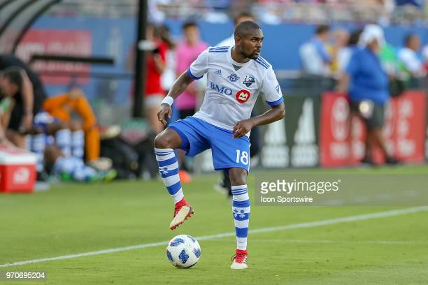 Montreal Impact defender Chris Duvall handles the ball during the soccer match between the Montreal Impact and FC Dallas on June 9 2018 at Toyota...