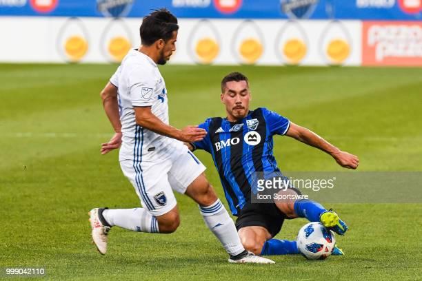 Montreal Impact defender Daniel Lovitz tackles the ball on San Jose Earthquakes midfielder Vako Qazaishvili during the San Jose Earthquakes versus...