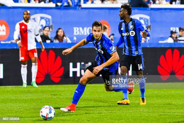 Montreal Impact defender Deian Boldor runs with the ball during the New England Revolution versus the Montreal Impact game on October 22 at Stade...