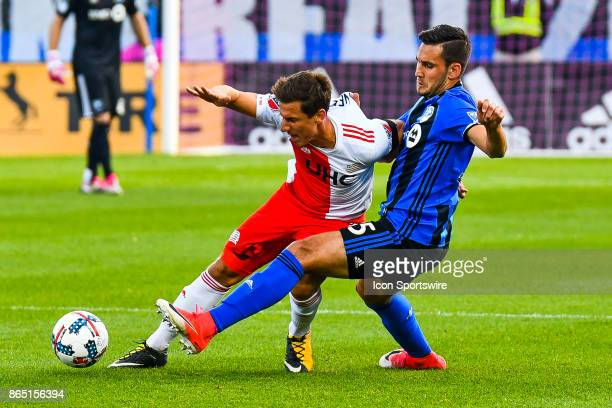 Montreal Impact defender Deian Boldor stops New England Revolution player from passing the ball during the New England Revolution versus the Montreal...