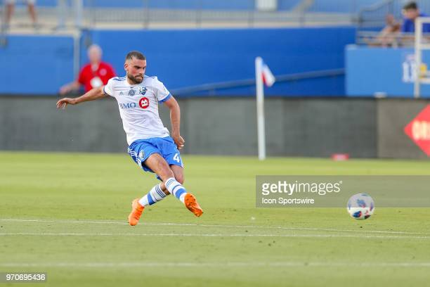 Montreal Impact defender Rudy Camacho passes the ball during the soccer match between the Montreal Impact and FC Dallas on June 9 2018 at Toyota...