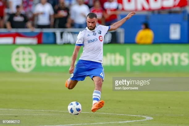 Montreal Impact defender Rudy Camacho strikes the ball during the soccer match between the Montreal Impact and FC Dallas on June 9 2018 at Toyota...