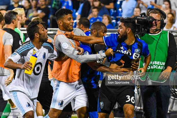 Montreal Impact defender Victor Cabrera tries to punch Minnesota United FC player during the Minnesota United FC versus the Montreal Impact game on...