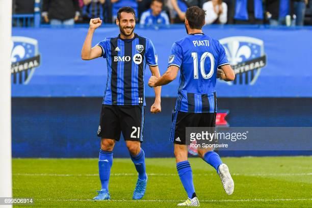 Montreal Impact forward Matteo Mancosu celebrating his goal with Montreal Impact midfielder Ignacio Piatti making the score 10 Impact during the...