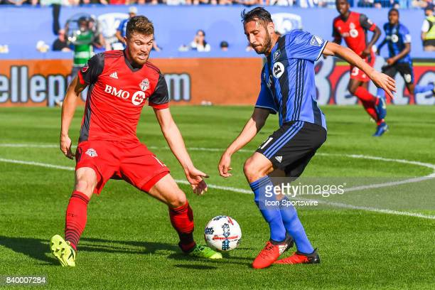 Montreal Impact forward Matteo Mancosu gaining control of the ball from Toronto FC forward Eriq Zavaleta during the Toronto FC versus the Montreal...