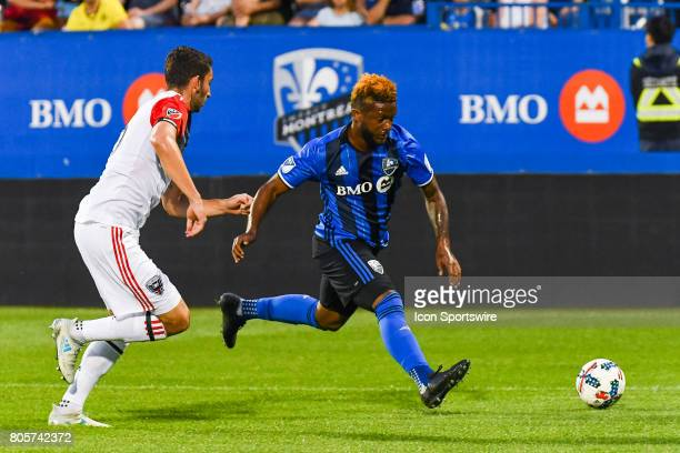 Montreal Impact forward Michael Salazar running after the ball on the field during the DC United versus the Montreal Impact game on July 1 at Stade...