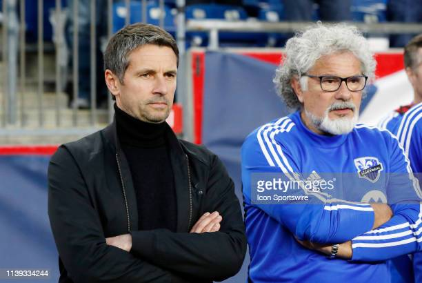 Montreal Impact head coach and director of player personnel Remi Garde and Montreal Impact assistant coach Joel Bats before a match between the New...