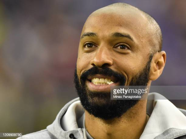 Montreal Impact head coach Thierry Henry looks on ahead of the MLS game against New England Revolution at Olympic Stadium on February 29 2020 in...