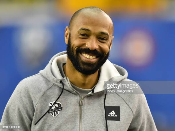 Montreal Impact head coach Thierry Henry looks on ahead of the MLS game against New England Revolution at Olympic Stadium on February 29, 2020 in...