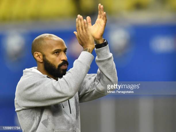 Montreal Impact head coach, Thierry Henry, reacts after a victory against New England Revolution during the MLS game at Olympic Stadium on February...