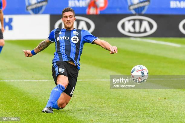 Montreal Impact midfielder Adrian Arregui after kicking the ball away during the Columbus Crew FC versus the Montreal Impact game on May 13 at Stade...