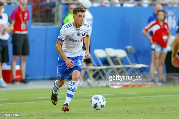 Montreal Impact midfielder Alejandro Silva brings the ball into the attacking zone during the soccer match between the Montreal Impact and FC Dallas...