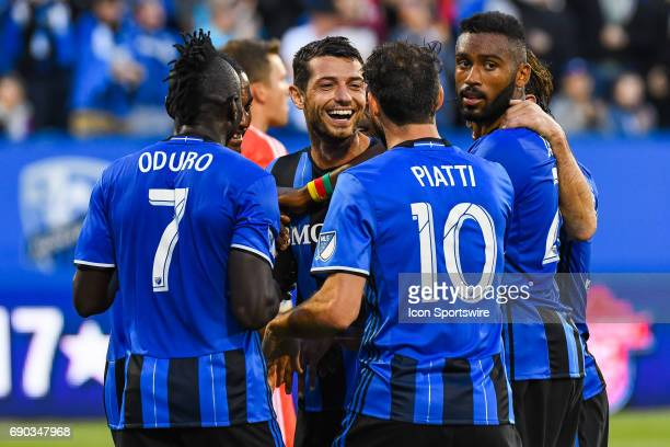 Montreal Impact midfielder Blerim Dzemaili celebrating his goal with his teammates making the score 30 Impact during the Montreal Impact versus the...