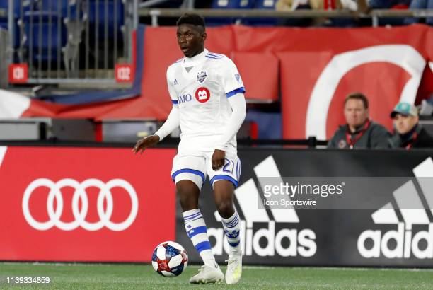 Montreal Impact midfielder Clement Bayiha during a match between the New England Revolution and the Montreal Impact on April 24 at Gillette Stadium...