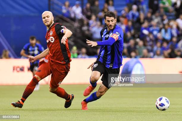 Montreal Impact midfielder Ignacio Piatti changes direction to gain control of the ball during the Toronto FC versus the Montreal Impact game on...