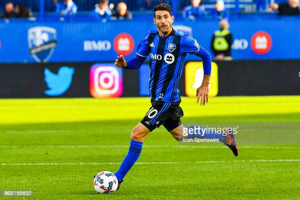 Montreal Impact midfielder Ignacio Piatti looks for a target to pass the ball while running during the New England Revolution versus the Montreal...
