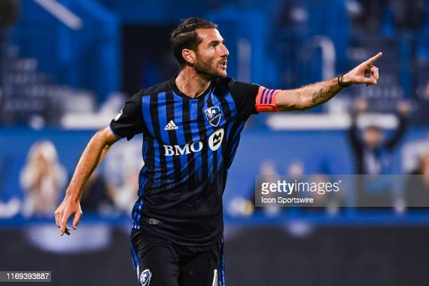 Montreal Impact midfielder Ignacio Piatti shows pride after scoring a goal during the Toronto FC versus the Montreal Impact game on September 18 at...