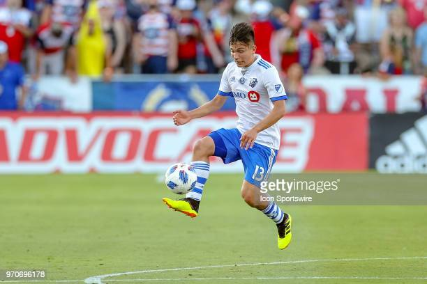 Montreal Impact midfielder Ken Krolicki handles the ball during the soccer match between the Montreal Impact and FC Dallas on June 9 2018 at Toyota...