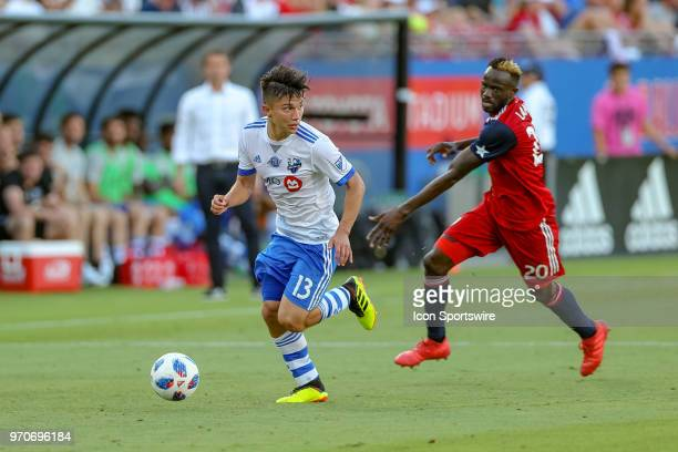 Montreal Impact midfielder Ken Krolicki is pursued by FC Dallas forward Roland Lamah during the soccer match between the Montreal Impact and FC...