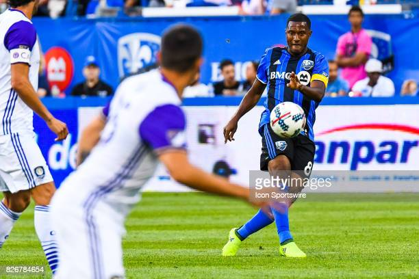 Montreal Impact midfielder Patrice Bernier kicking the ball away during the Orlando City SC versus the Montreal Impact game on August 5 at Stade...
