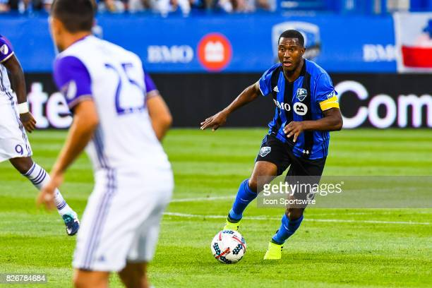 Montreal Impact midfielder Patrice Bernier on offence controlling the ball during the Orlando City SC versus the Montreal Impact game on August 5 at...