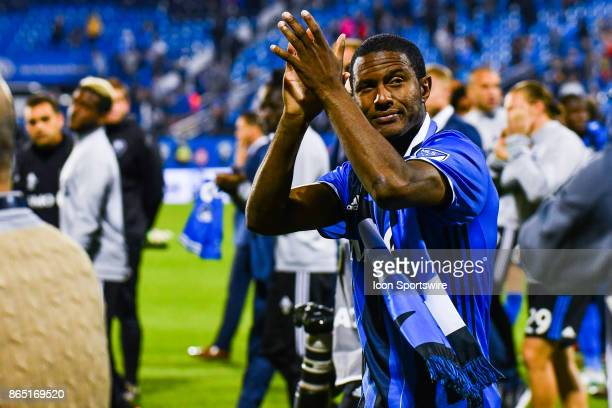 Montreal Impact midfielder Patrice Bernier salutes the crowd one last time heading into retirement during the New England Revolution versus the...