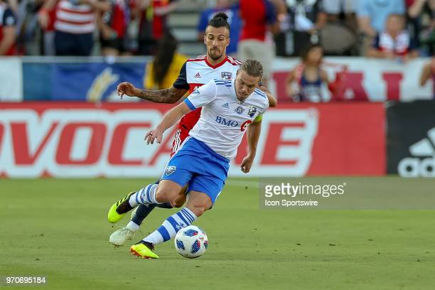 Montreal Impact midfielder Samuel Piette is tripped from behind by FC Dallas forward Maximiliano Urruti during the soccer match between the Montreal...