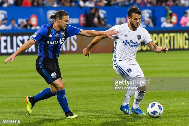 Montreal Impact midfielder Samuel Piette tries to stop San Jose Earthquakes midfielder Vako Qazaishvili during the San Jose Earthquakes versus the...