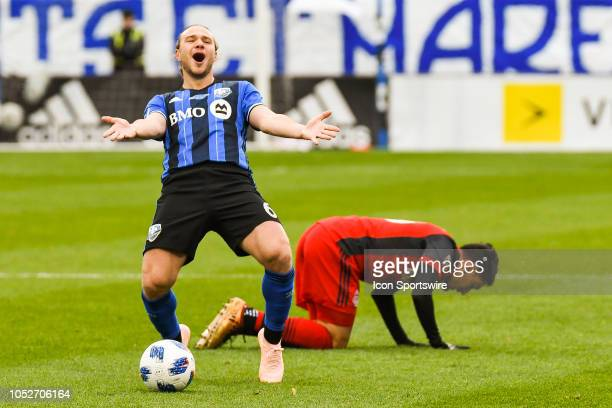 Montreal Impact midfielder Samuel Piette unhappy about a call from the officials after a collision during the Toronto FC versus the Montreal Impact...