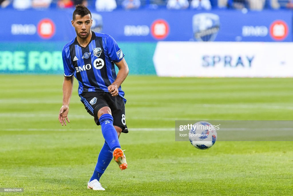 Montreal Impact midfielder Saphir Taider (8) kicks the ball away during the Colorado Rapids versus the Montreal Impact game on July 07, 2018, at Stade Saputo in Montreal, QC