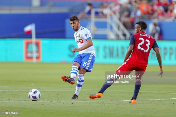 Montreal Impact midfielder Saphir Taider sends in a pass during the soccer match between the Montreal Impact and FC Dallas on June 9 2018 at Toyota...